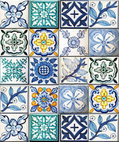 Hand painted tiles Demosaica